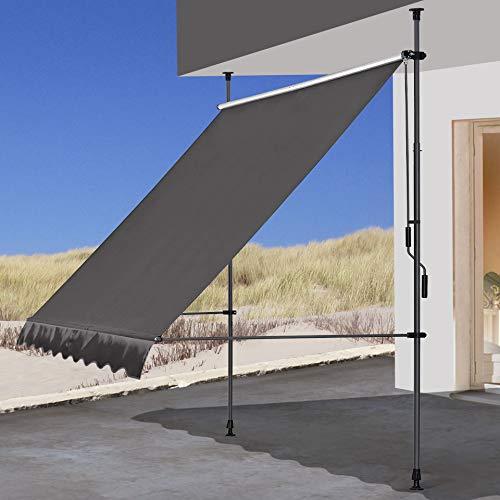 QUICK STAR Klemmmarkise 250x130cm Grau Balkonmarkise Sonnenschutz Terrassenüberdachung Höhenverstellbar von 200-290cm Markise Balkon ohne Bohren