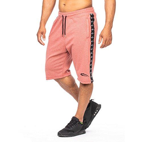 SMILODOX Herren Shorts 'Bandit' | Kurze Hosen für Sport Fitness Gym Training & Freizeit | Jogginghose - Freizeithose - Trainingshose - Sweatpants - Sporthose Kurz, Farbe:Rot, Größe:L