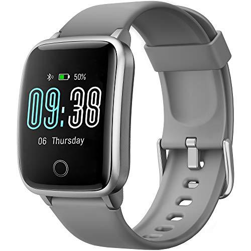 Smartwatch, KUNGIX Fitness Armband Tracker Uhr IP68 Wasserdicht, Sportuhr mit Schrittzähler Pulsuhren Stoppuhr Atemtraining, Touchscreen Smart Watch für Damen Herren Armbanduhr für iOS Android