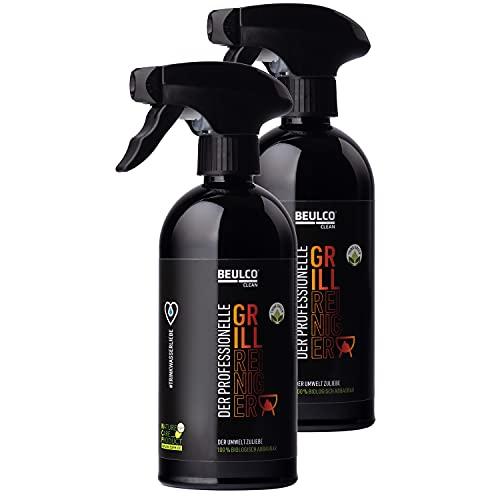 BEULCO CLEAN - Bio Grillreiniger 2 x 500 ml Spray Set für Edelstahl, Gas & Elektrogrill - Natur Grill Reiniger Reinigungsset & Fettlöser für Eingebranntes - Reinigungsspray für Gusseisen, Aluguss Rost