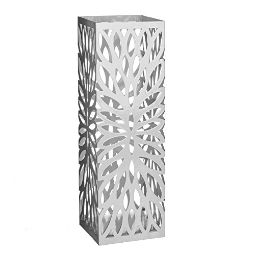 dcasa - Paragüero moderno metal blanco. 15,50 x 15,50 x 49 cm