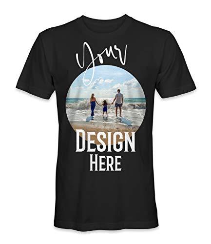 Unisex T-Shirt mit Eigenem Foto Text Logo Name Selbst Gestalten - Ringgesponnene Baumwolle - Vollfarbiger Druck - XL |Schwarz|