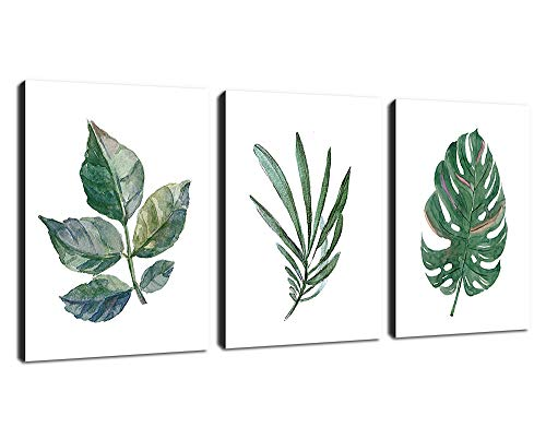 Canvas Wall Art Green Leaf Simple Life Painting 12' x 16' x 3 Pieces Framed Canvas Pictures Watercolor Prints Contemporary Canvas Artwork Ready to Hang for Home Decoration Kitchen Office Wall Decor