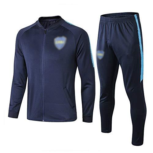ZH~K Traje de entrenamiento de club de fútbol europeo para hombre, manga larga, transpirable, camiseta (top + pantalones) – Sudaderas para hombre A1227 (color: azul marino, tamaño: XL)