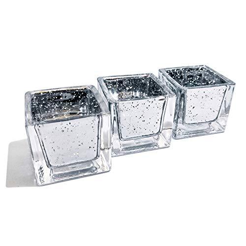justbelight Teelichthalter Eckig (Set) aus Glas | Edel, Zeitlos Schön | Elegante Tischdeko (3)