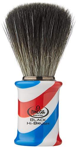 "Omega 0196735 - Pennello da Barba in Fibra""Black Hi-Brush"" -""Barber Pole"", Blu"