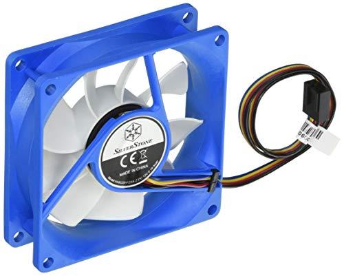 SilverStone SST-FW81 - Ventilador de refrigeración silencioso de 80mm PWM para ordenador Serie FW, blanco-azul
