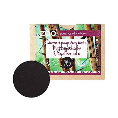 ZAO REFILL Matt Eyeshadow 206 schwarz Lidschatten-Nachfüller (Cake Pro Eyeliner, Augenbrauenpuder) (bio, Ecocert, Cosmebio, Naturkosmetik)