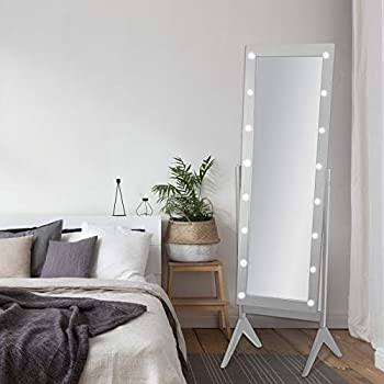 NA eHomeProducts Grey Finish LED Lights Wooden Cheval Bedroom Floor Mirror Stand Hollywood Makeup Mirror