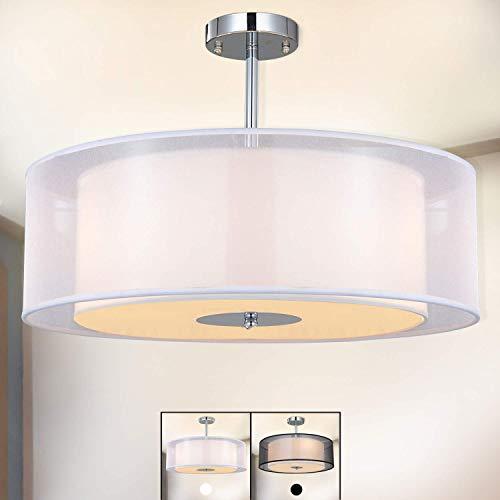 Deckenleuchte, SPARKSOR Stoff Deckenlampe, Weiß Rund Pendelleuchte für Wohnzimmer Schlafzimmer Küche Esszimmer, Durchmesser 50cm, Chrom matt, Warmweiss 3-flammig E27