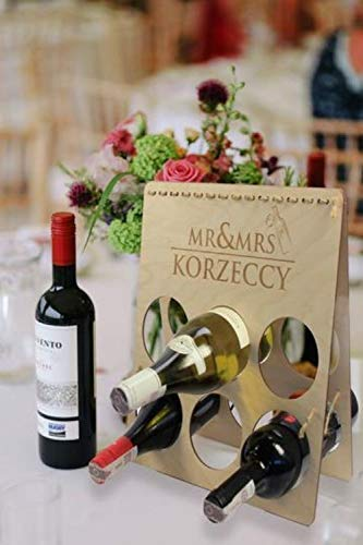 Weinregal Holz Vintage Personalisierte Dekorativer Weinständer aus Holz mit individueller Gravur