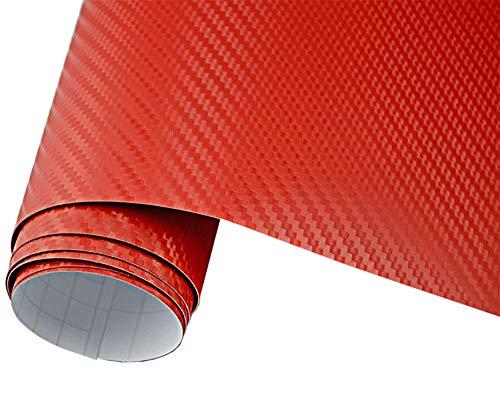 5€/m2 Auto Folie - 3D Carbon Folie rot blasenfrei 30 x 150 cm selbstklebend BLASENFREI Car Wrapping Klebefolie