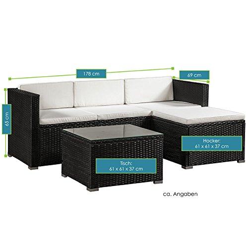 ArtLife Polyrattan Lounge Punta Cana M für 3-4 Personen mit Tisch in schwarz mit Bezügen in Creme - 7