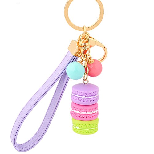 Song Macaron Cake Dessert Candy Beads Keychain Bag Pendant Key Ring Keyfob