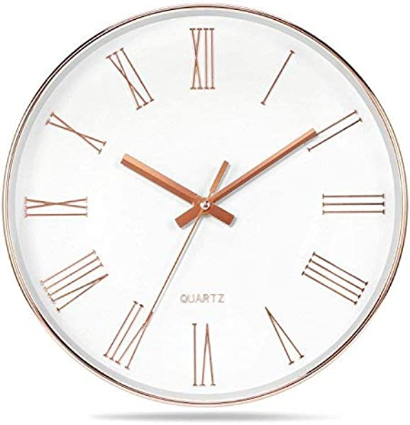 Vitaa 12 Inch Modern Wall Clock Silent Non Ticking Quartz Decorative Battery Operated Wall Clock For Living Room Home Office School Rose Gold Plastic Frame Glass Cover Rose Gold Roman Numerals