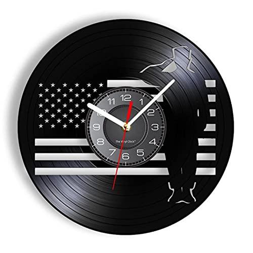 LTMJWTX Soldato Militare Marine degli Stati Uniti Salutando la Bandiera Orologio da Parete con Disco in Vinile Memorial USA Veterans Army Marines Vintage Clock