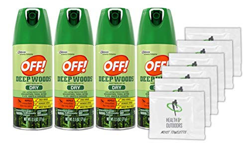 Off! Deep Woods Dry Insect Repellent, 2.5 Ounce (4 Count) + (6) Bonus Wipes