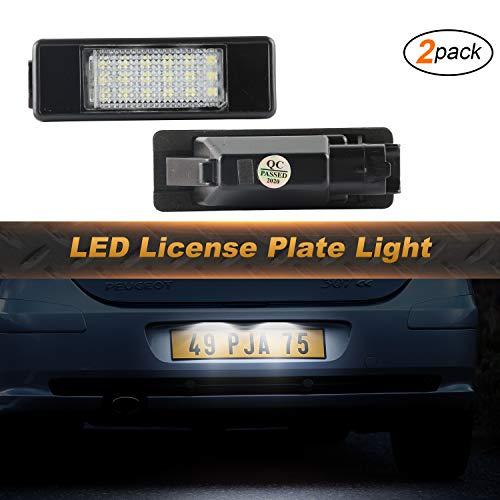 Luces de matrícula OZ-LAMPE 2 X18 Luces de matrícula LED de licencia 2835 SMD Compatible con PEUGEO-T 106 1007 207 307 308 3008 406 407 508 Experto III RCZ 2D COUPE CITROE-N BERLINGO C2 C3 C4 C5 C6 C8