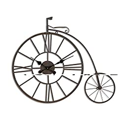 Vintage Iron Woll Clock Bicycle Tire Wall Clock Metal Wall Wall Decoration Quiet Battery Wall Clock