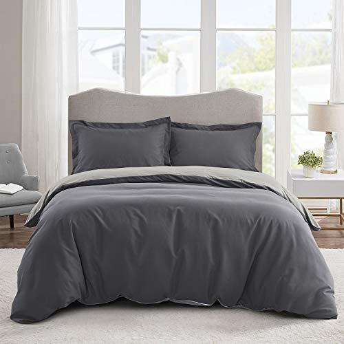 HIG Gray 3 Piece Double Bedding Duvet Cover - 100% Hypoallergenic Microfibre - 4 Corner Ties & Zipper Closure - Easy Fit - Soft & Cosy Cover Sets with 2 Shams - Wrinkle Resistant & Fade Resistant