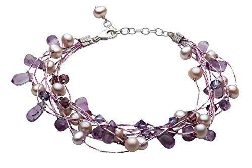 Dew - Pulsera de mujer de plata de ley con perlas, amatistas y piedras multicolor, 21 c