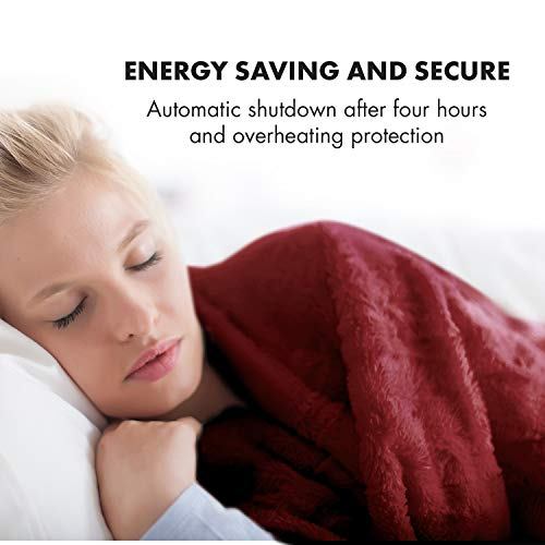 KLARSTEIN Dr. Watson Heated Electric Blanket, 3 Heat Settings, Ultra-Warm Premium MicroPlush, Auto Shut-Off, Cozy and Washable, 70 x 50 in, Maroon