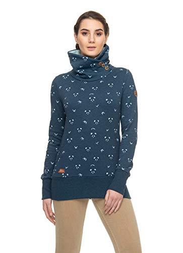 Ragwear Angel Damen,Sweatshirt,Pullover,Hoodie,hoher Stehkragen,vegan,Knopfleiste,Seitentaschen,Navy,S