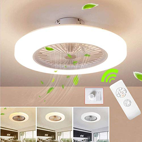 SLZ Ventilateur De Plafond avec Lampe, 36W Creative Invisible Fan LED Plafonnier Télécommande Dimmable Ultra-Silencieux Can...