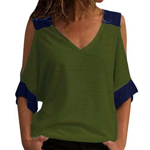 Camisetas Mujer Manga Corta Lanskirt Camisas Mujeres Verano 2019 Blusas Elegantes Sin Tirantes Cosida Camiseta de Cuello Alto Chalecos Sexy Jerséis Shirt