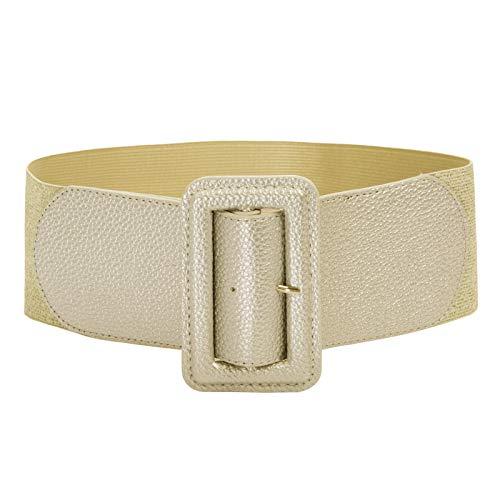GRACE KARIN Cinturón Ancho Elástico Para Mujer con PU Hebilla Cinturón Estiramiento