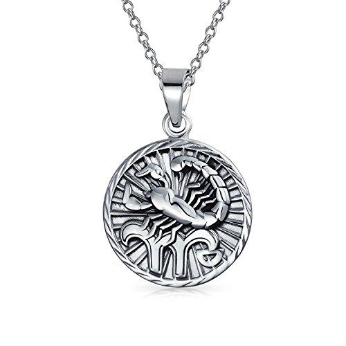 Escorpio Signo Del Zodíaco Astrología Horóscopo Medallón Colgante Redondo Para Hombres Mujer Collar De Plata Esterlina