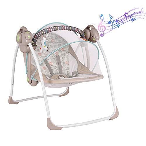 Altalena elettrica lenitiva, seggiolone alimentato tramite USB, seggiolino morbido, giocattoli, musica e rete, culla pieghevole per neonati color cachi