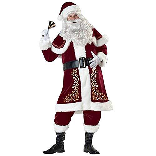 Yissma Weihnachtsmann Anzug für Erwachsene Weihnachtsmann Kostüme 8 Stück Kleidung,Socken Christmas Nikolaus Gürtel, Hut, Tops,Schal, Hosen, Überschuhe, Handschuhe Bart