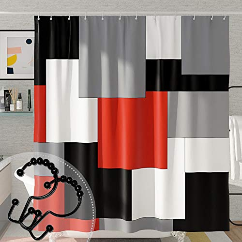 DESIHOM Red and Black Modern Shower Curtain for Bathroom with 12 Rust-Resistant Metal Double Glide Shower Hooks Set, Geometric Gray White Abstract Polyester Waterproof Shower Curtain 72x72 Inch