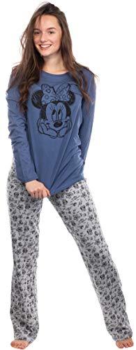 Brandsseller Damen Schlafanzug Zweiteilig - Pyjama Freizeitanzug Set mit Motiven im Stil von Minnie Mouse (Blau/Hellgrau, Large)