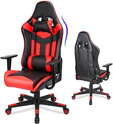 Acethrone Silla ergonómica para juegos con gran asiento acolchado, respaldo alto, con ruedas, brazos ajustables, respaldo, silla giratoria, silla de oficina de carreras.