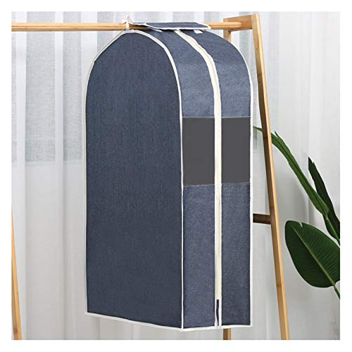 YPSOU Garment Covers, Cotton and Linen Material Clothing Dust Cover,with Transparent Window Coat Covers Garment Bags for Travel, Dresses, Coats, Luggage, Linens, Closet(Size:60×28×120cm,Color:Navy)