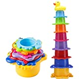 Toddler Bath Stacking Cups Best for Baby and Kids, Rainbow Caterpillar...