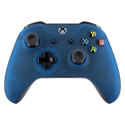 eXtremeRate Soft Grip Cover Custodia Anteriore Copertura Frontale Scocca DIY Pezzo di Ricambio per Xbox One S X Controller Model 1708(Trasparente Blu Nebbioso)