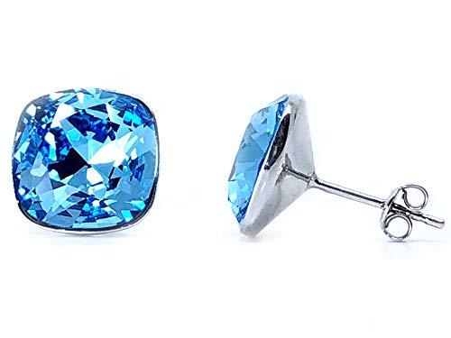 Pendientes mujer 100% Plata de Ley y baño de rodio con cristales Swarovski Elements®, pendientes de plata para mujer