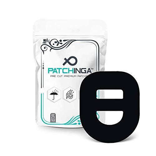 PATCHINGA atmungsaktive Fixiertapes für OmniPod   Pflaster I Selbstklebende Patch für schlauchlose Insulin-Pumpe I I Wasserfest - Hypoallergen erhältlich (schwarz)