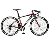 WANYE Bicicleta De Carretera con Sistema De Cambio De 27 Velocidades Bicicleta De Carretera para Adultos con Ruedas 700C * 28C Black red-27speed