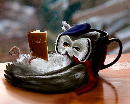 Adult Puzzle Klassisches Puzzle 1000 Stück DIY Owl, Die Sich Auf Eine Kaffeetasse Stützt Lesen Eines Buches Holzpuzzlespiel Handgemachte Puzzles Personalisiertes Geschenk 50X75 cm