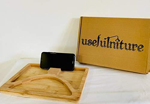 USEFULNITURE Bandeja Tabla Aperitivos Multifunción Madera de Bambú Natural con Soporte para Móvil y Tablet