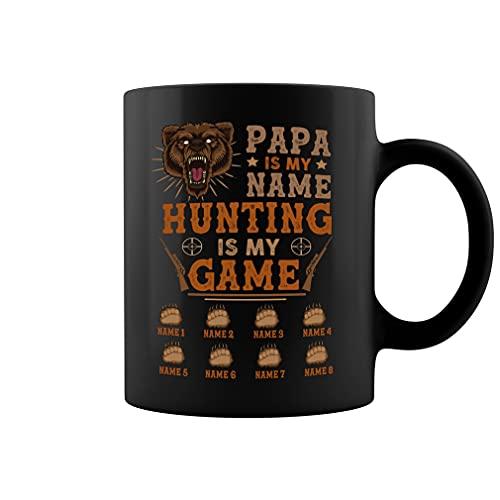 Personalizado Papa is My Name Hunting is My Game, Papa Bear Hunting Lover, Personalizado hasta 8 niños Taza de café de cerámica taza de té (negro, 11 oz)