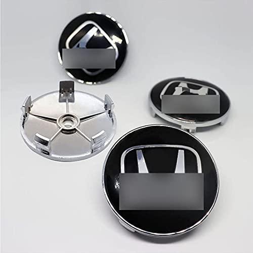 4 StüCk Abs Kunststoff Aluminium Radnabenkappen füR Hond-a Universal Wheel Hub Center Covers 68mm, Radnabenabdeckung Zierdeckel Auto ZubehöR Chrom