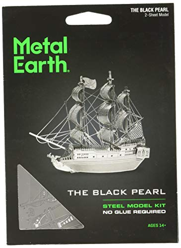 Fascinations Metal Earth MMS012 - 502600, Black Pearl Pirate Ship, Konstruktionsspielzeug, 2 Metallplatinen, ab 14 Jahren