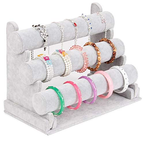 Homeanda Grey Velvet 3 Bars Jewelry Bracelet Hand Chain Watches Hairband Display Organizer Holder