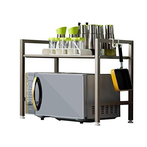 Coolshopy Impresora estante de la cocina de microondas estante estante 2 Horno de almacenamiento en rack de almacenamiento Guardar espacio de bastidor de acabado estante de acero inoxidable 304 (Color
