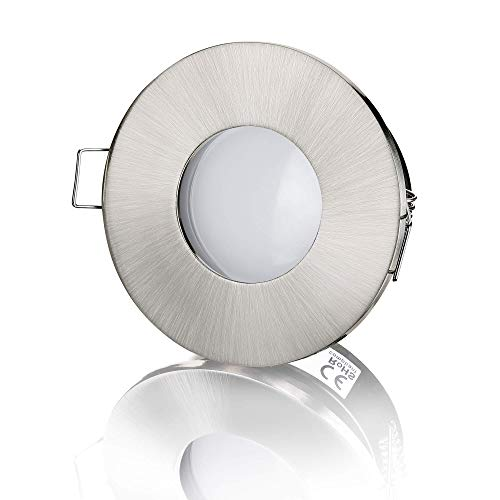 lambado® LED Spots Flach für Badezimmer IP65 in Edelstahl gebürstet - Moderne Deckenstrahler/Einbaustrahler für Außen inkl. 230V 5W Strahler warmweiß dimmbar - Hell & Sparsam